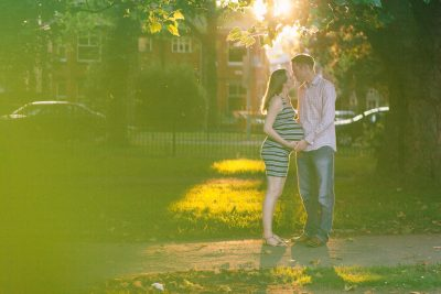 Hubby and I in Cringle Park Levenshulme with a large baby bump