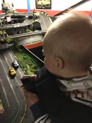 Tall Boy trying out the Scalextric at Stonerig Raceway
