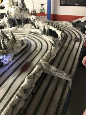 Winter Scalextric track scene at Stonerig Raceway