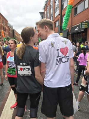 Tall Mum and Tall Dad at the start of 2017 Great Manchester Run