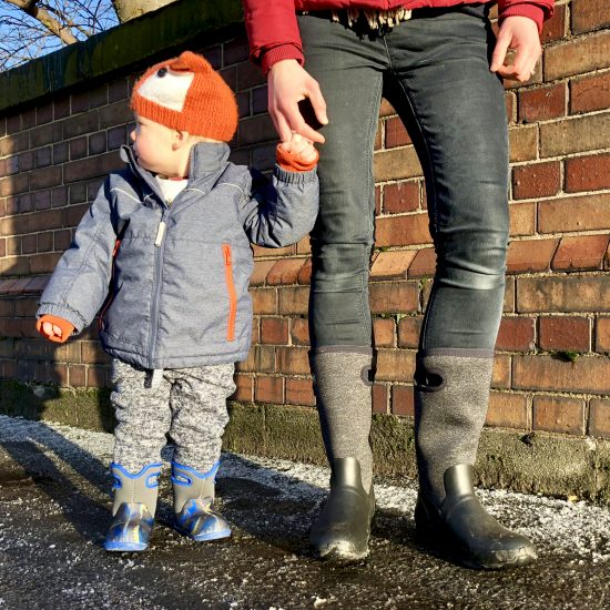 Mummy and toddler in Bogs wellies