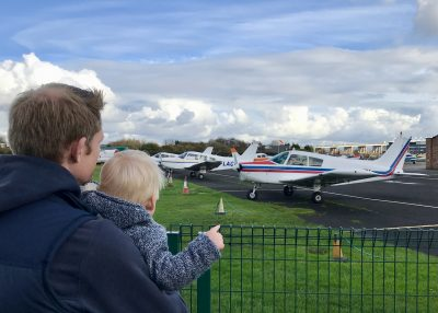 Watching planes take off at Barton Airport