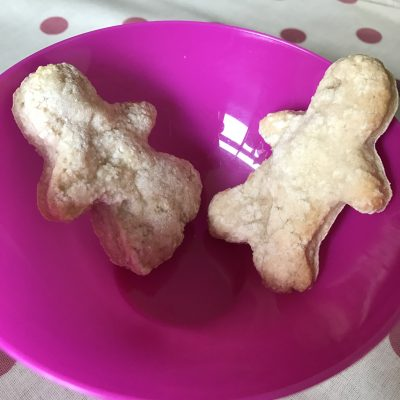 baby breakfast biscuits in the shape of a boy and girl